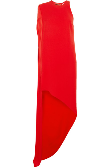 WOMAN CAPE-EFFECT CREPE GOWN RED