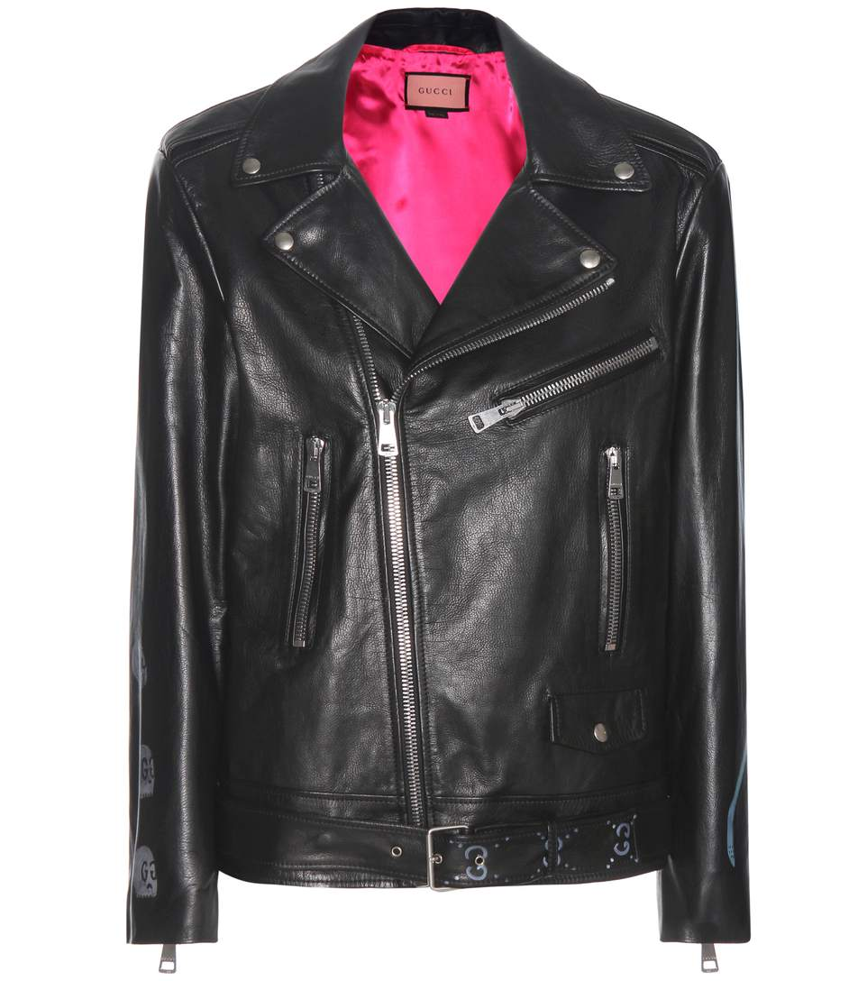 Black Leather Hand-Painted Biker Jacket