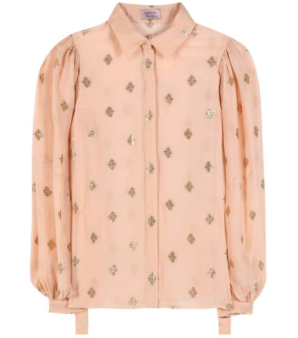 Jacquard silk-blend blouse