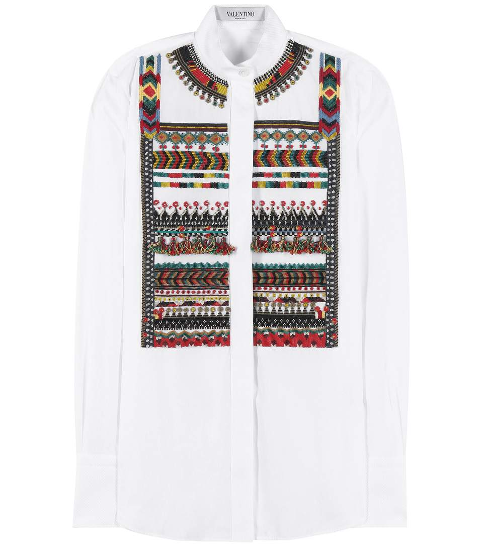 VALENTINO Aztec Cotton Button-Down Shirt