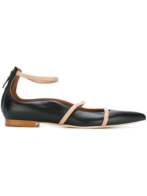ROBYN FLAT BLACK AND NUDE NAPPA LEATHER BALLERINAS