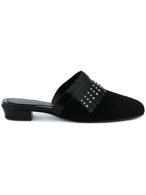 Slippers with Studded Leather Fringing