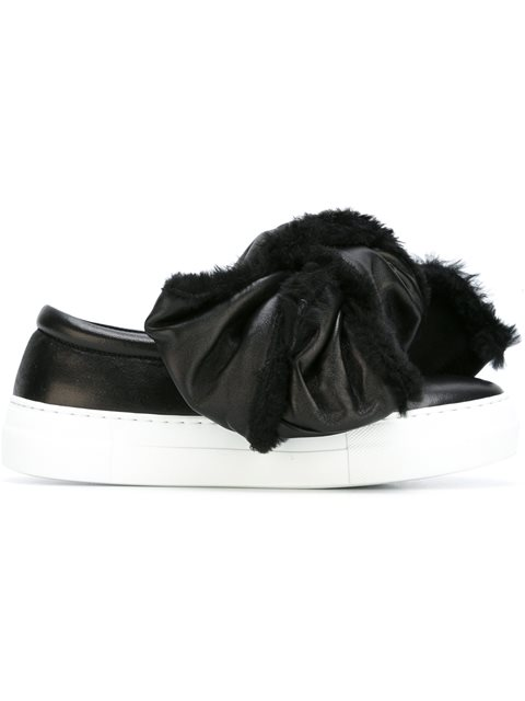 oversized shearling bow sneakers
