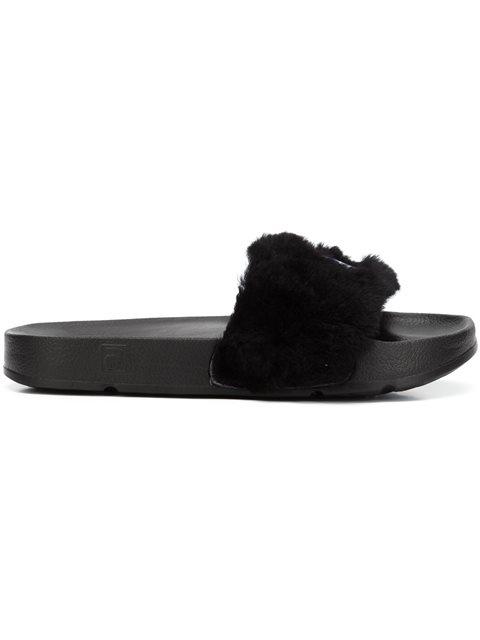 Black Fila Edition Shearling Drifter Slides