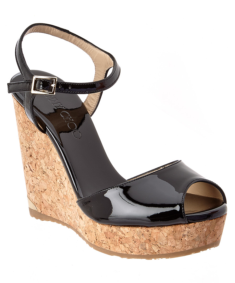 PERLA 120 PATENT CORK WEDGE SANDAL