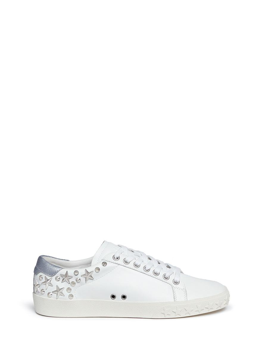 WOMEN'S DAZED STAR STUDDED LEATHER LACE UP SNEAKERS