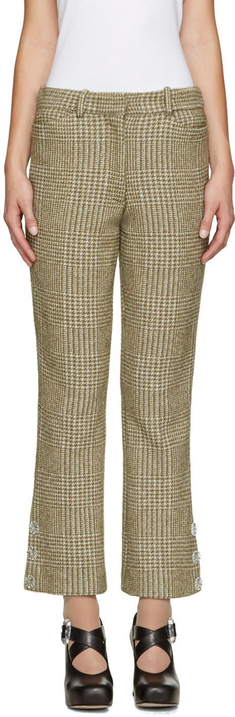 Khaki Sparkle Houndstooth Trousers