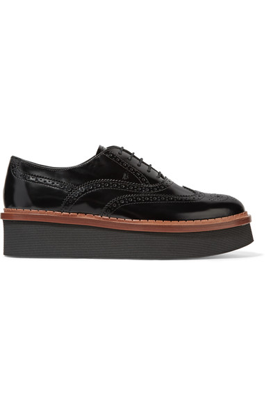 Glossed-leather platform brogues