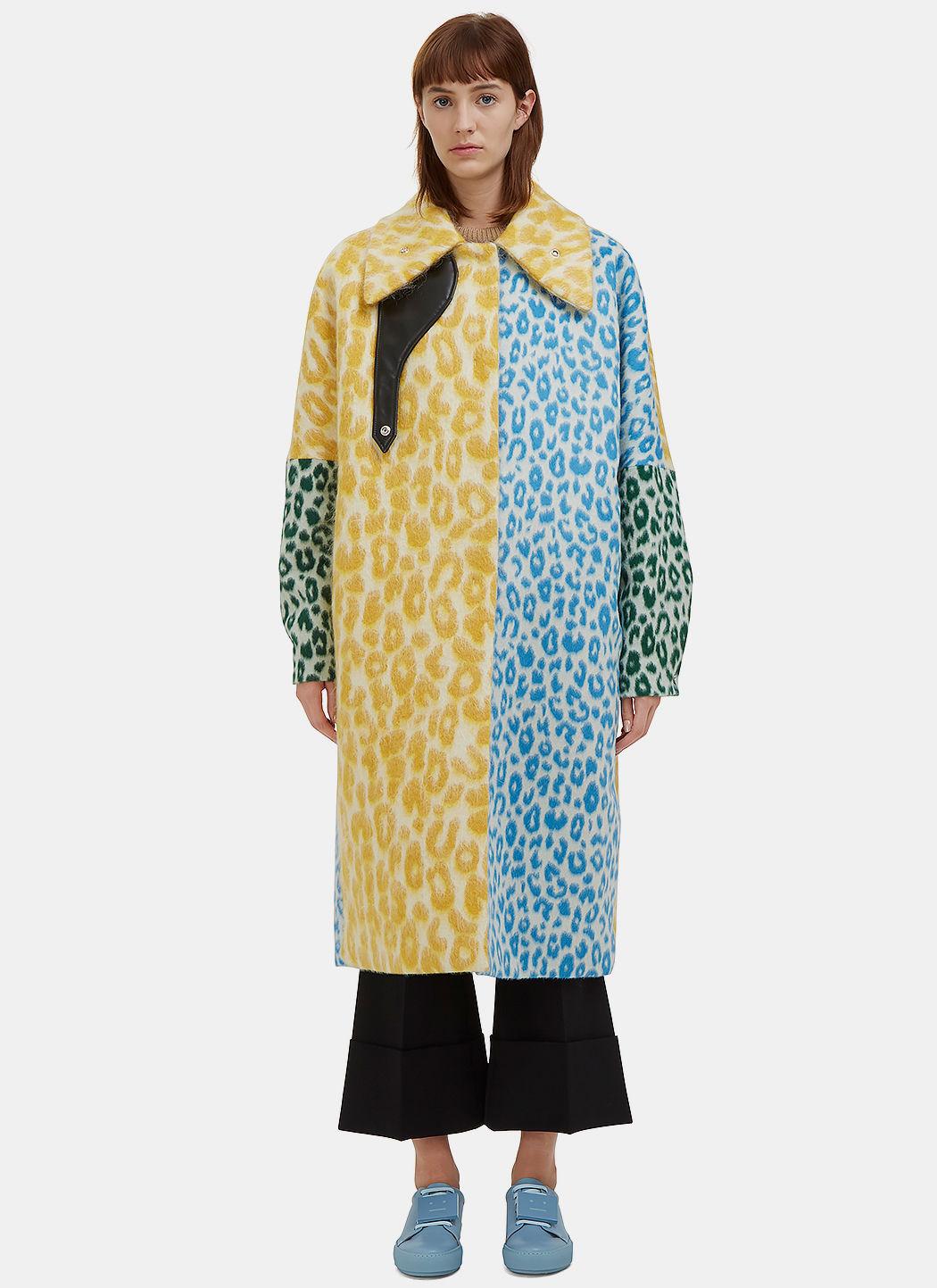 'Bertilyn' patchwork leopard print felted mohair blend coat