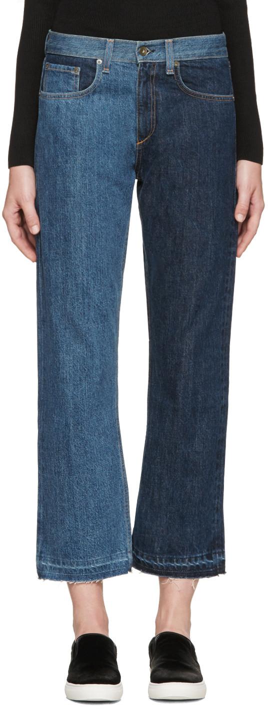Indigo 2 Tone Crop Jeans