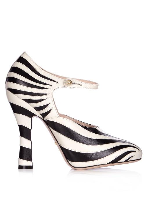 Gucci Leathers Lesley zebra-appliqué leather pumps