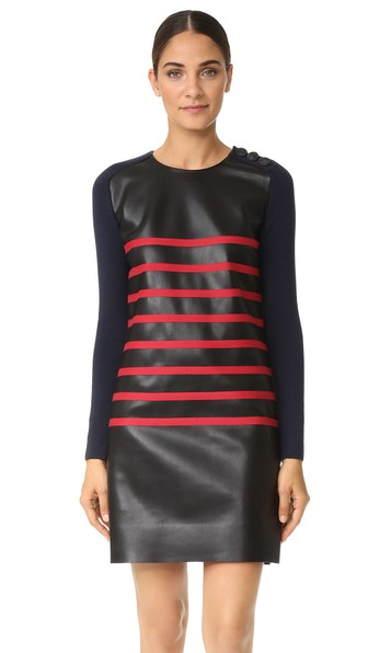 Long Sleeve Striped Short Dress