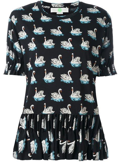 swan print skirt blouse