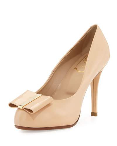 Roger Vivier Leathers DECOLLETE SMOKING LEATHER 95MM PUMP, ROSA SALMONE