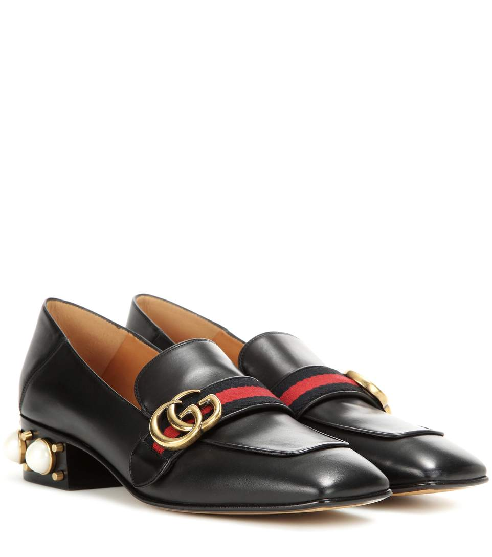 MARMONT LOGO AND FAUX PEARL-EMBELLISHED LEATHER COLLAPSIBLE-HEEL PUMPS