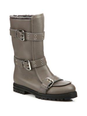 Jimmy Choo Leathers Deryn Flat Leather & Shearling Boots