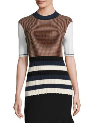 Opening Ceremony Knits Rib-Knit Striped Top