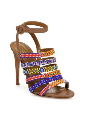 Aquazzura Leathers Masai Beaded Strappy Leather Ankle-Strap Sandals