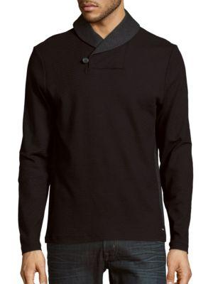 Calvin Klein Cottons Shawl Collar Button Sweater