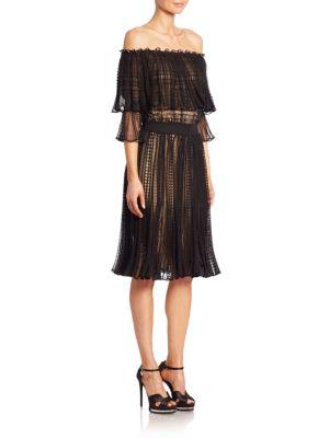 Alexander Mcqueen Silks Off-The-Shoulder Pointelle Dress