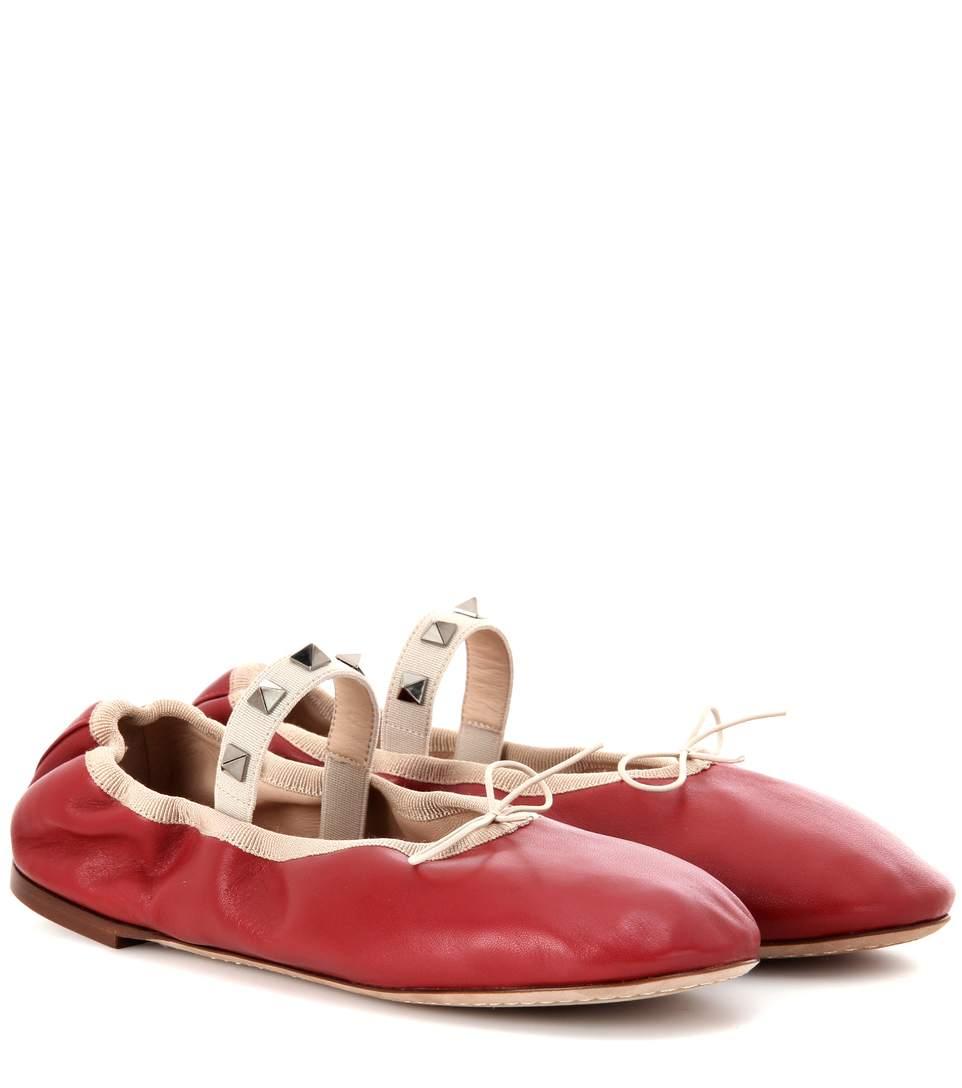 Valentino Leathers Valentino Garavani Rockstud Ballet leather ballerinas