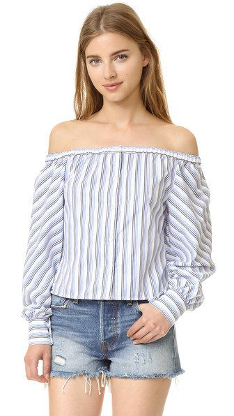 ELLE SASSON Leandrea Cotton Off-The-Shoulder Blouse