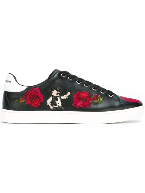 Dolce & Gabbana Leathers embroidered flower sneakers