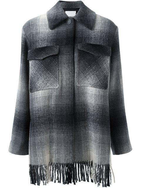 checked shirt coat