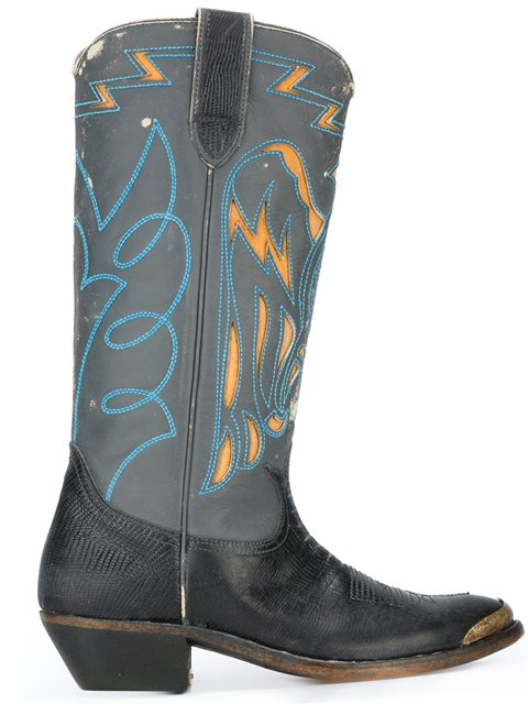Golden Goose Leathers LIZARD EMBOSSED COWBOY BOOTS