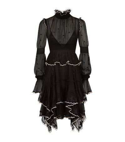 Alexander Mcqueen Silks Tulle Ruffle Dress
