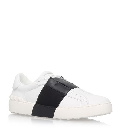 WHITE AND BLACK LEATHER ELASTIC BAND SNEAKER
