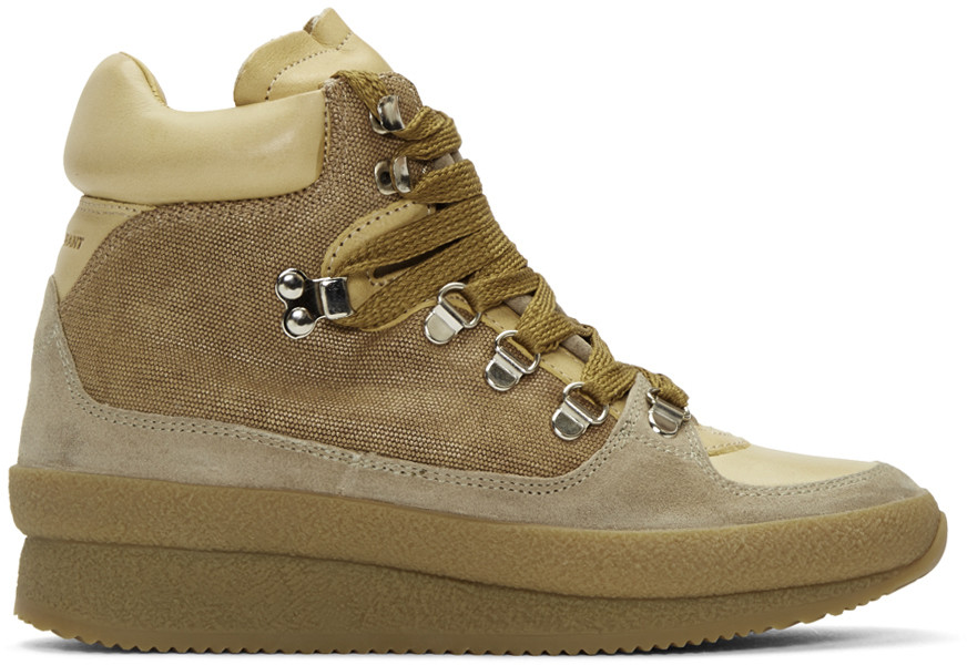 ISABEL MARANT ETOILE BRENT HIKING BOOTS IN NEUTRALS
