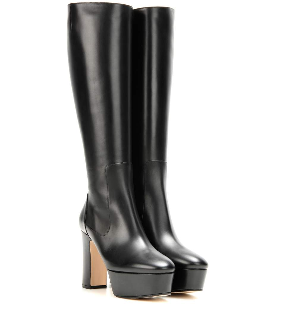 Gucci Leather Knee High Platform Boots In Black Leather