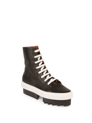 Street Leather Lace-Up Platform Sneakers