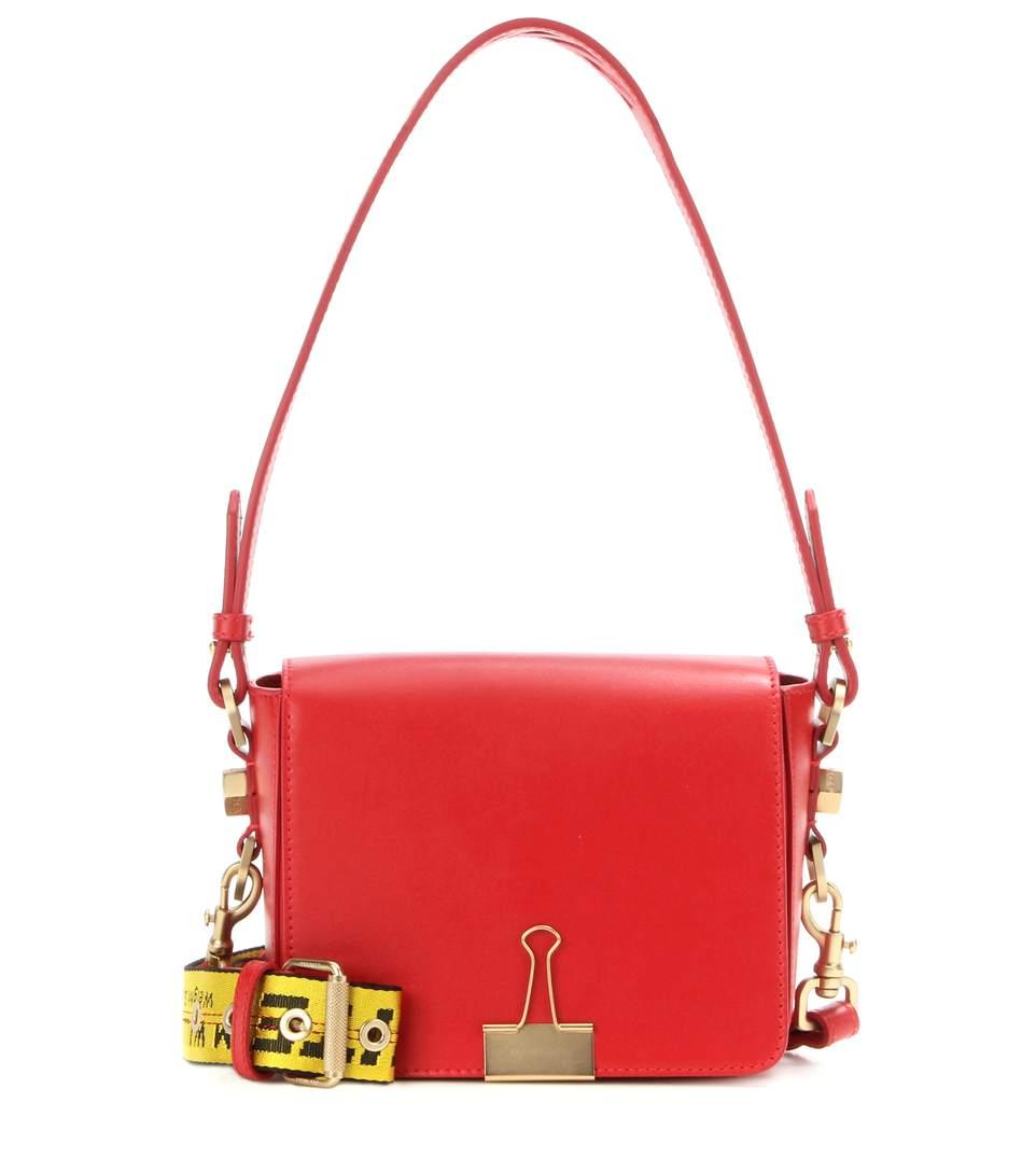 BINDER CLIP LEATHER SHOULDER BAG, RED