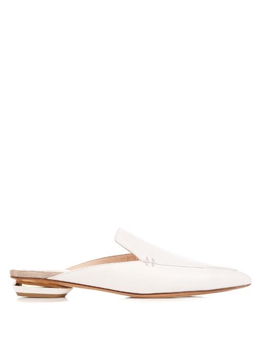 'Beya' metal heel leather skimmer loafer mules