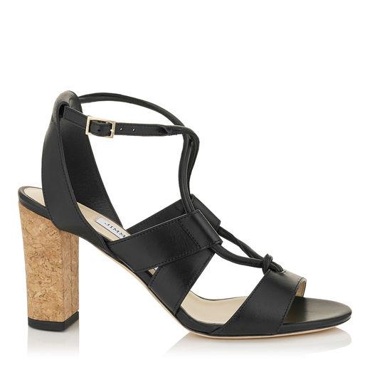 Jimmy Choo Leathers MARGO 80 Black Vacchetta Leather Sandals
