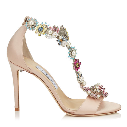 Jimmy Choo Crystals REIGN 100 Dusty Rose Satin Sandals with Camellia Mix Anklet