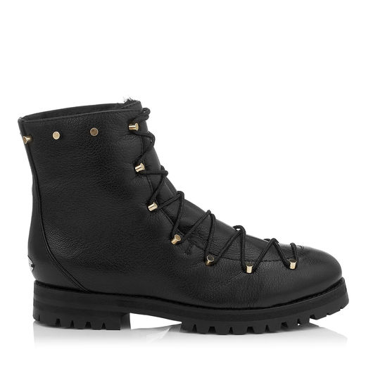 Jimmy Choo Leathers DRAKE FLAT Black Grainy Leather Combat Boots with Shearling Lining
