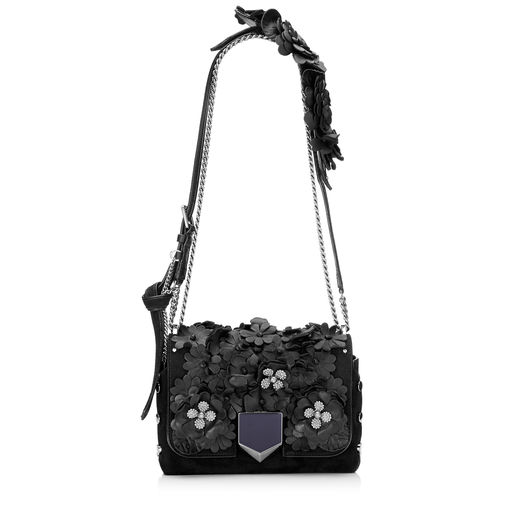 LOCKETT PETITE Black Nappa with Floral Applique Shoulder Bag
