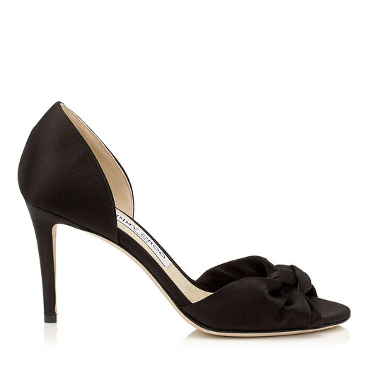 Jimmy Choo Leathers KITTY 85 Black Satin Sandals