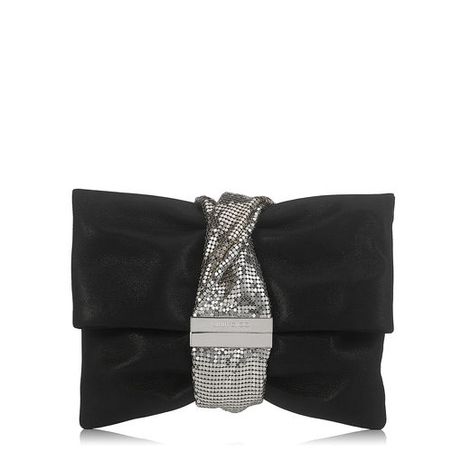 Jimmy Choo Leathers CHANDRA/M Black Shimmer Suede Clutch Bag with Chainmail Bracelet