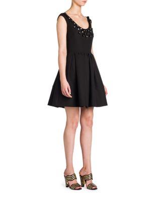 Fendi Silks Studded Scoopneck Dress