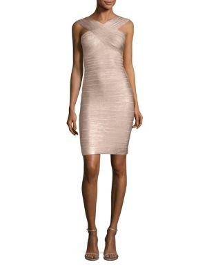 Herve Leger Dresses Stella Metallic Halter Bandage Dress