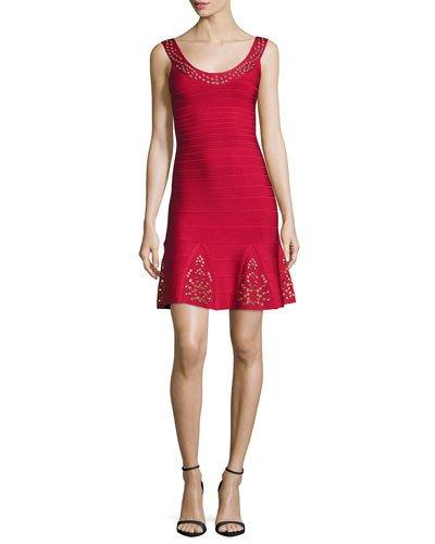 Herve Leger Downs GROMMET SCOOP-NECK RUFFLED DRESS, LIPSTICK RED