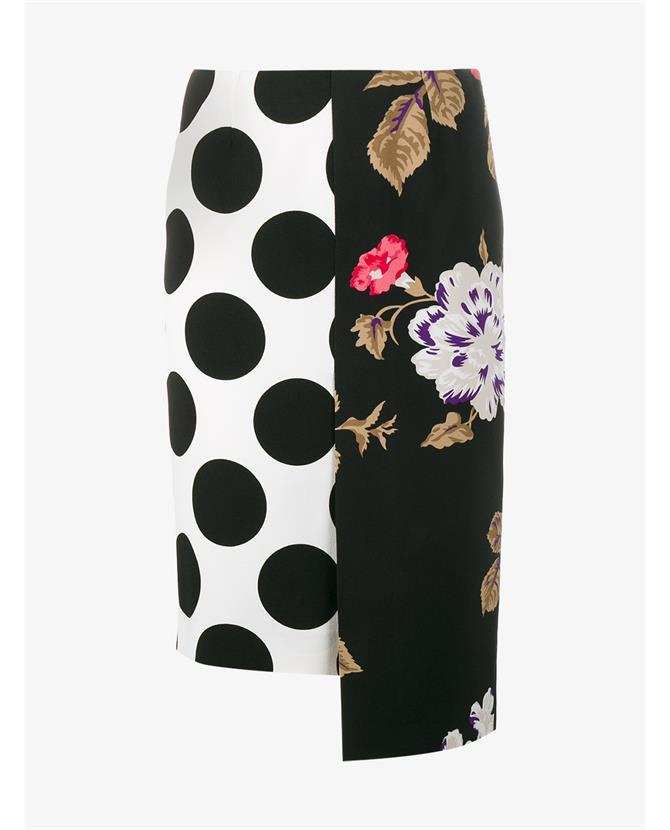Msgm Linings Polka Dot Floral Panelled Skirt