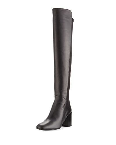 Stuart Weitzman Leathers HALFTIME LEATHER OVER-THE-KNEE BOOT, BLACK