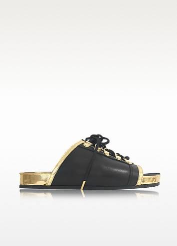 Balmain Leathers TAO BLACK AND GOLD METALLIC LEATHER FLAT SLIDE