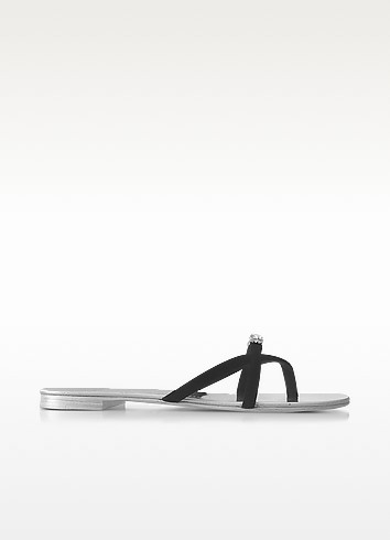 Giuseppe Zanotti Suedes PIA BLACK SUEDE FLAT SANDAL W/CRYSTALS