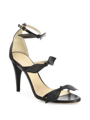 Chloé Leathers Mike Leather Knotted Bow Sandals